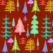 Multi Colored Christmas Trees - red