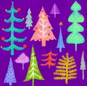 Multi Colored Christmas Trees - purple