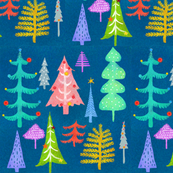 Multi Colored Christmas Trees - blue