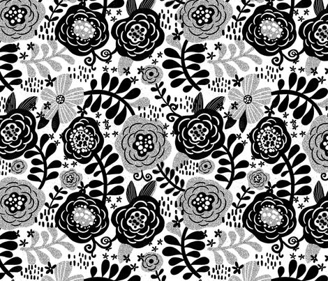 Grungey Posies  fabric by cynthiafrenette on Spoonflower - custom fabric