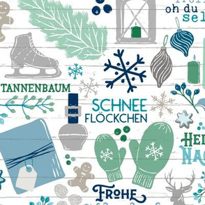 German Christmas Traditions in Turquoise, Navy, & Mint Green // Frohe Weihnachten! // Christmas Trees, Carols, Greetings, Gluehwein, Mittens, Bells, Gingerbread, Lebkuchen, Ice Skates