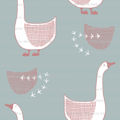 Goose in green and old pink