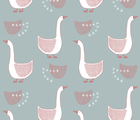 Goose in green and old pink fabric by nellianna on Spoonflower - custom fabric
