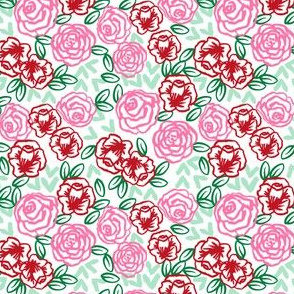 SMALL - valentines roses // pink and red roses fabric red rose fabric valentines fabrics girls floral fabric cute roses florals