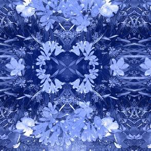 Kaffir Lilies and Camellia Garden in Cobalt Blue and White