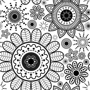 Black &  White Floral Mandala - Large Scale-01