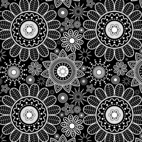 Black  & White Floral Mandala - Large Scale
