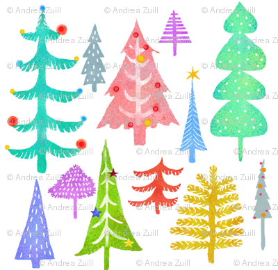 Multi Colored Christmas Trees - white