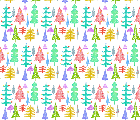 Multi Colored Christmas Trees - white fabric by andrea_zuill on Spoonflower - custom fabric