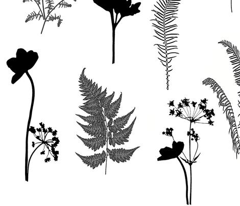 Black and White Fern Garden lg fabric by mypetalpress on Spoonflower - custom fabric