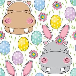 jumbo easter bunny hippos on white