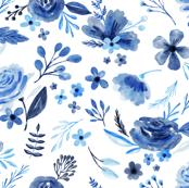 Indigo Watercolor Floral
