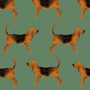 LARGE - bloodhound fabric simple dog design - med green