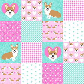 corgi love quilt - valentines cheater quilt, love dog, dog quilt, patchwork fabric, cheater quilt design - pink and mint,