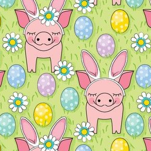 easter bunny pigs on green