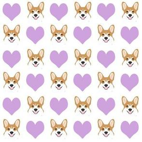 valentines corgi - cute dog fabric, valentines love fabric, dog fabric, corgi fabric, corgis fabric - white and lavender