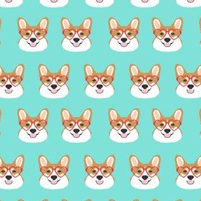 corgi love glasses - heart glasses, c ute dog, dog fabric, corgis fabric - mint