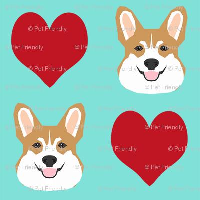 valentines corgi - cute dog fabric, valentines love fabric, dog fabric, corgi fabric, corgis fabric - mint and red