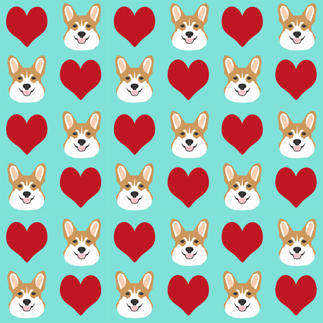 valentines corgi - cute dog fabric, valentines love fabric, dog fabric, corgi fabric, corgis fabric - mint and red fabric by petfriendly on Spoonflower - custom fabric