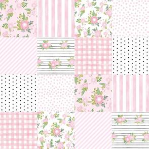 pink floral cheater quilt - cheater quilt, patchwork, girls, florals