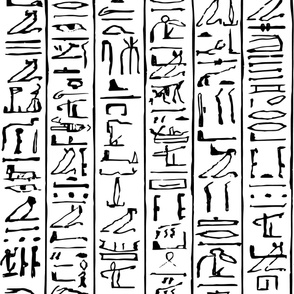 Egyptian Hieroglyphics Jumbo Scale in Black on a white background
