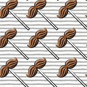 Mustache lollipops - valentines candy suckers - grey stripes