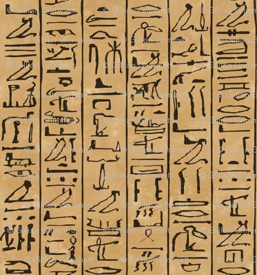 Egyptian Hieroglyphics Jumbo Scale in Black on a papyrus