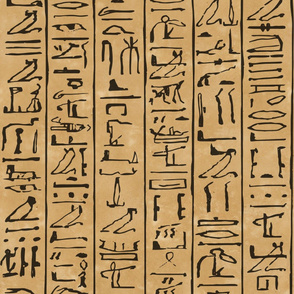 Egyptian Hieroglyphics Jumbo Scale in Black on a papyrus background