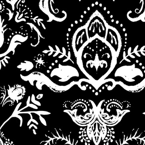 Black and White Grunge Damask V.02
