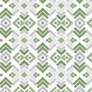 Watercolor diamonds geo green/gray