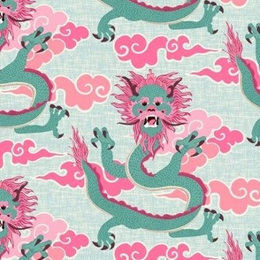 dragon - pink and green