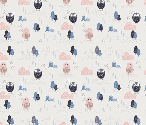 Scandinavian birds fabric by stephaniedsl on Spoonflower - custom fabric