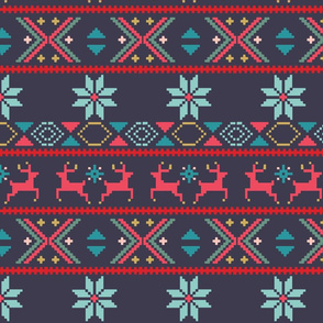 Fair Isle Blue and Red
