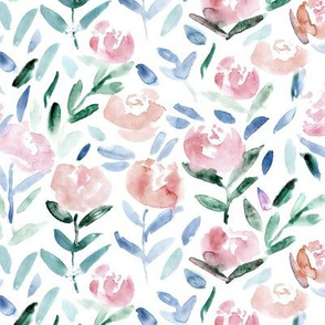 Blush pink flowers || watercolor florals
