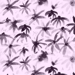 Dramatic camomiles || watercolor block print floral pattern on pink