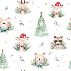Watercolor new year holidays forest  cute animals: baby deer, raccoon and bear