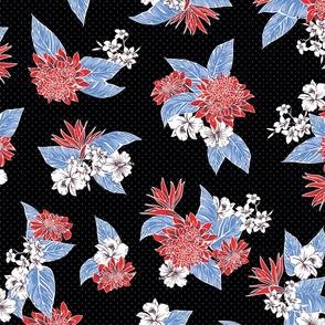 Virginia Floral - Black/Red/Blue