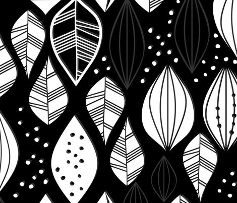 white vertical leaves on dark fabric by panimoni on Spoonflower - custom fabric