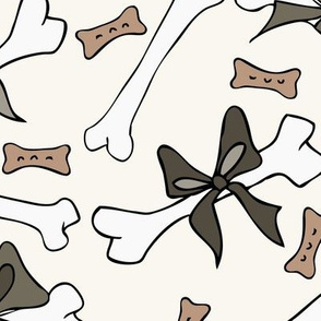 Dog Bones with Bow - Large - Clay, H White