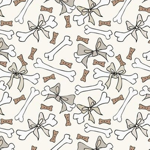 Dog Bones with Bows - Small - Neutral, H White