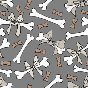 Dog Bones with Bows - Neutral, Grey