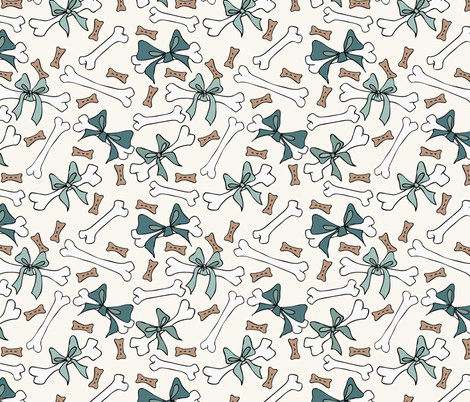 Dog Bones - Spruce, D Turq - H White fabric by fernlesliestudio on Spoonflower - custom fabric
