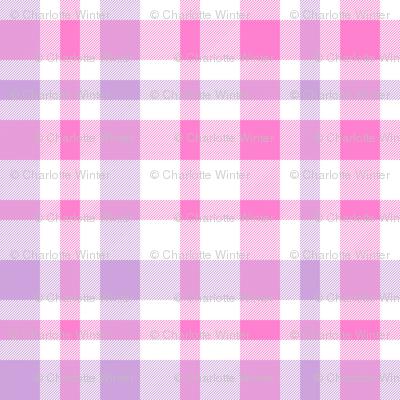 valentines plaid fabric, valentines day fabric, sweet pastel plaid, pink plaid, purple plaid, girls plaid, girls buffalo check, plaid pattern - mulberry and bubblegum