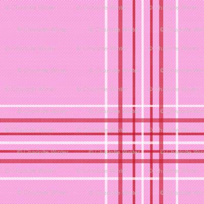 valentines plaid fabric, valentines day fabric, sweet pastel plaid, pink plaid, purple plaid, girls plaid, girls buffalo check, plaid pattern - bubblegum and cherry red