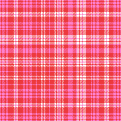 valentines plaid fabric, valentines day fabric, sweet pastel plaid, pink plaid, purple plaid, girls plaid, girls buffalo check, plaid pattern - bright red plaid fabric by charlottewinter on Spoonflower - custom fabric