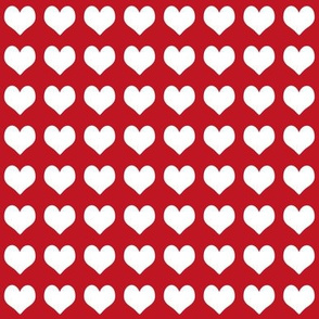1 inch heart valentines fabric - valentines day, valentines fabric, heart, hearts, heart fabric, - cherry and white