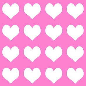 2 inch heart valentines fabric - valentines day, valentines fabric, heart, hearts, heart fabric, - bubblegum and white
