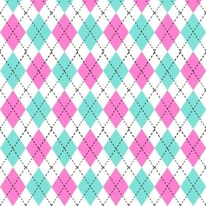 argyle fabric - valentines day fabric, valentines day argyle, girls preppy fabric, preppy argyle, -  candy mint and bubblegum