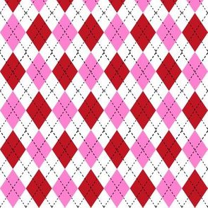argyle fabric - valentines day fabric, valentines day argyle, girls preppy fabric, preppy argyle, -  bubblegum and cherry