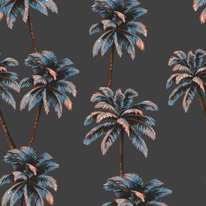 Crayon Palms - Carbon Grey
